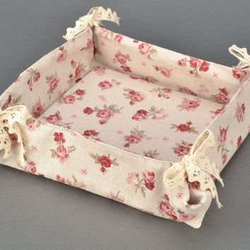 Designer handmade fabric bread basket Sewing material Fashion item Kitchen decor