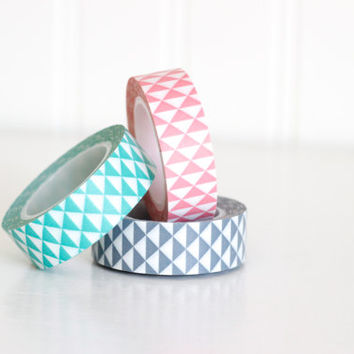 Aqua, Coral Pink, or Gray triangles Washi Tape - ONE ROLL- Japanese Masking Tape Craft Supply Scrabooking Supply