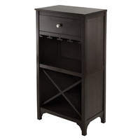 SAVE Winsome Wood Ancona X-Shelf Wine Cabinet w/ 1 Drawer & Glass Rack