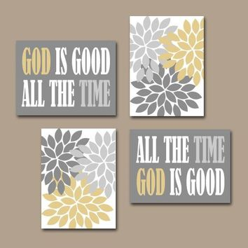 GOD is Good All The Time Wall Art, Religious Quote Home Flower Burst Floral Living Room Wall Art, Set of 4 Choose Colors Canvas or Prints
