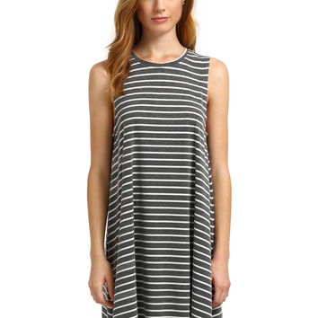 Grey Striped Sleeveless Swing Dress
