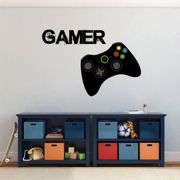cik1498 Full Color Wall decal controller console Xbox 360 Game PS4 player bedroom teens