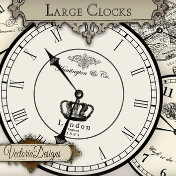 Large Vintage Clocks large clock images with without handles instant download digital collage sheet VD0679