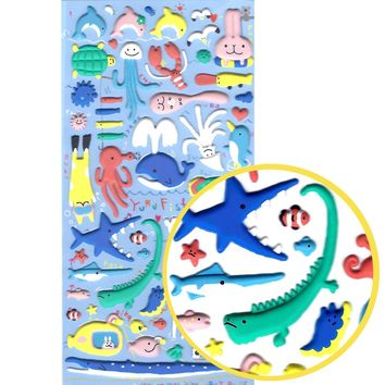 Sea Creatures Animal Themed Dolphin Whale Squid Shark Puffy Stickers for Scrapbooking