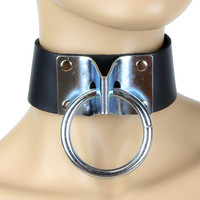 "Metal Hinge Heavy O Ring Sub Bondage Choker Fetish Leather Collar 1-3/4"" Wide"