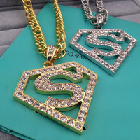 Street jewelry Superman Logo Necklace nightclub bar performance