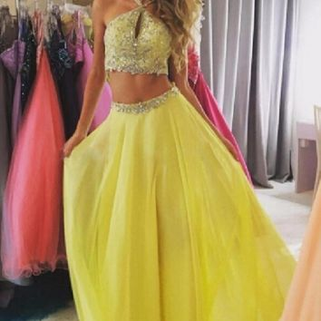 Prom Dresses Tulle Two Piece Yellow Evening Dresses Beaded
