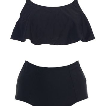 Marina West Flounce Bandeau Top and High Waist Bikini Bottom