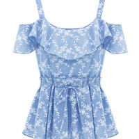 Light Blue Ruffled Bare Shoulder Pleated Top with Floral Detail