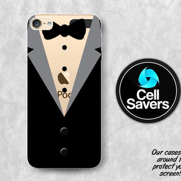 Tuxedo Clear iPod 5 Case iPod 6 Case iPod 5th Generation iPod 6th Generation Rubber Case Gen Clear Case Black Suit Bow Tie Fancy Tux Tuxedo