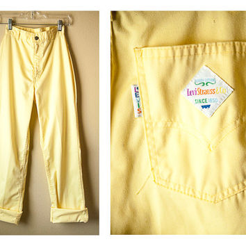 70s High Waisted Yellow LEVI PANTS // Levi's Levi Strauss Yellow Cotton Trousers High Waist
