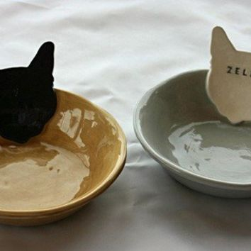 Personalized Kitty Cat Bowl Dish  6 inches  by sunshineceramics