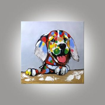 Dog canvas  painting acrylic pet painting pop art anilmal portrait Wall Art pictures for living room home decor hand-made abstract painting