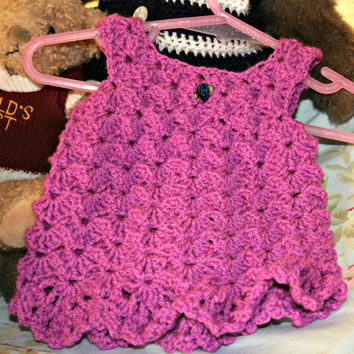 Baby crochet dress summer dress crochetyknitsnbits high quality chic baby girl clothes magenta layette shower gift new born 0 to 3 months