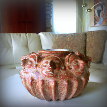 VINTAGE TRIBAL POTTERY Large Figurative Multi Face Sculpture Ceramic Clay Urn Pot: Mayan, Peruvian, Native, Unique, Inca, Ethnic Home Decor
