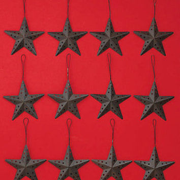 Set Of 12 Country Rustic Metal Star Christmas Tree Ornaments Tree Trimming Decor