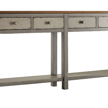 "Macy 72"" Hall Console, Gray/Pecan, Console Table"
