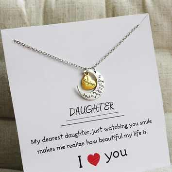 Daughter I Love You to the Moon and Back Two-Piece Pendant Gift Card Heart Necklace 18 Inch