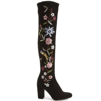 CREYONIG MIA Serena - Black Stretch Microsuede Floral Embroidered Over-The-Knee Boot