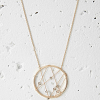 Embellished Circle Pendant Necklace