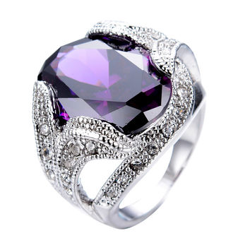 Chunky Amethyst Purple Women/Men Ring Gold Filled
