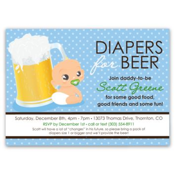 Diapers for Beer Baby Shower Invitations (boy)