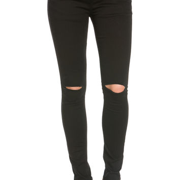 Black Knee Slit Drawstring Jogger Pants
