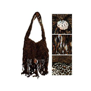 Handmade Brown Hand Knit Over-the-Shoulder Bag
