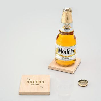 Natural Wood Coaster with Built-in Bottle Opener - Cheers Etching (Pack of 1)