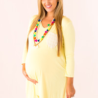 WEB EXCLUSIVE: Crochet Pocket Maternity Dress in Yellow