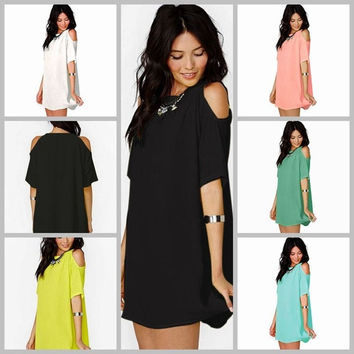 Womens Plus Size Chiffon Baggy T-Shirt strapless Blouse Beach Dress Boho Mini Tops S-XXXL = 5618491393