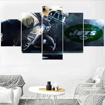 5 Panel Sport Poster Paintings New York Jets Modern Home Decor Living Room Bedroom Wall Art Canvas Print Painting Calligraphy