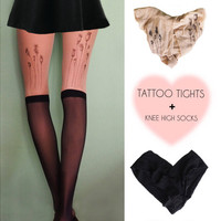 Poppy pods tattoo tights + black knee high socks gift!