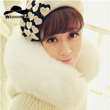 Women Artist Beret Autumn&Winter Vintage with Love pearl Soft Felt Wool Beanie Hat, Ladies Fashion Female Franch Berets