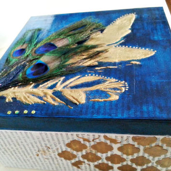 Handmade Jewelry Box. One of a Kind,. Peacock feathers, gold embossed feathers.Wedding or Birthday Gift, Anniversary Gift.Tarot card storage