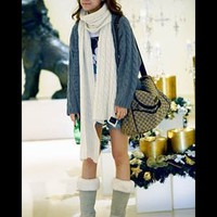Women Knitting Blue Button One Size Sweater Outerwear@T608b