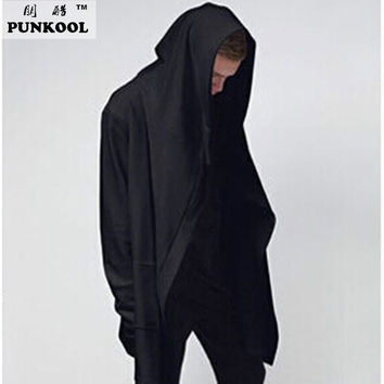 Europe&america Style Men's Hoodies Sweatshirts Cloak Long Sleeve Shawl Outwear Streetwear Style Hooded Men's Plus Long Hoodies