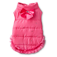 Smoochie Pooch Pink Ruffled & Jeweled Dog Jacket