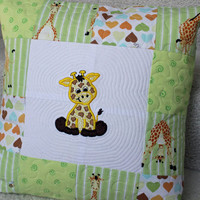 Pillow Cover, Children Pillow Cover, Giraffe Pillow Cover, Embroidered Giraffe Pillow, Slip On Cover, Cotton Pillow Cover, Green Pillow