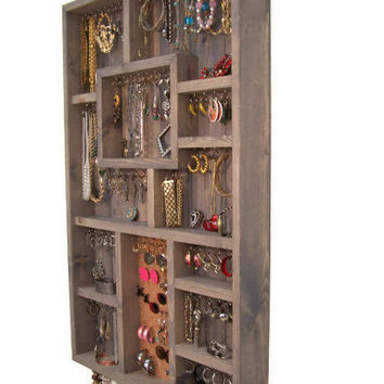 Large Gray Jewelry Display Case, Jewelry Organizer