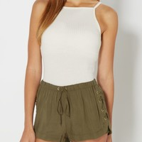 Ivory Ribbed High Neck Cami | Casual Tank Tops | rue21