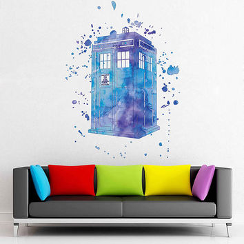 cik1862 Full Color Wall decal Watercolor Time Machine Spaceship tardis doctor who living children's bedroom