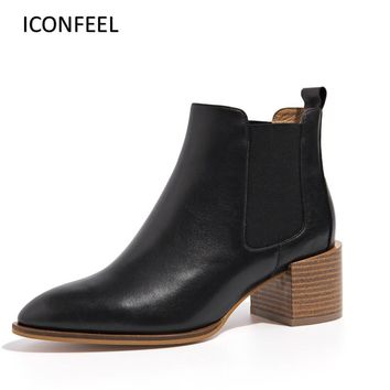 ICONFEEL Brand Chelsea Boots For Women Genuine Leather Pointed Toe Elastic Ankle Boots Med Chunky Heel Botas Damen Box Packing