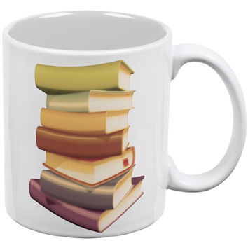 Book Collector Stack White All Over Coffee Mug