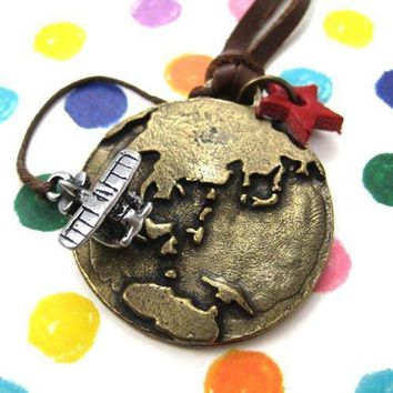Globetrotter Travel Earth and Airplane Pendant Necklace in Bronze
