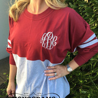 Spirit Shirt Maroon/Heather Grey Monogram Personalized  Font Shown MASTER CIRCLE in light grey