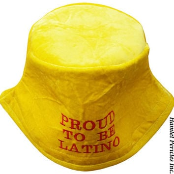 Yellow Crushed Velvet Bucket Hat | Proud To Be Latino Embroidered Hat | Crushed Velvet Hat | Plush Hat | Yellow Hat | Sun Hat by Hamlet P.