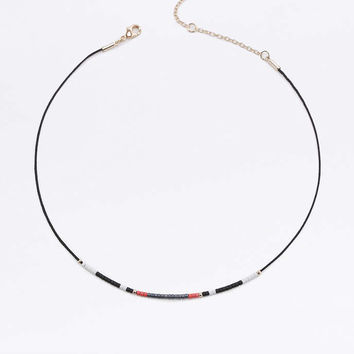 Black Beaded Cord Choker Necklace - Urban Outfitters