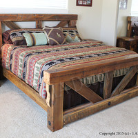 Timber Trestle Bed - Rustic Bed Reclaimed And Weathered Wood Bed- Barnwood Bed Frame - Solid wood Queen or King Sized Bed Frame
