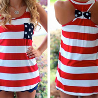 Red White Stripe Tank Top with Bow on the Back American Flag, 4th of July Top